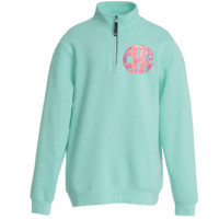 Monogrammed Lilly Pattern Quarter Zip Sweatshirt with Pockets