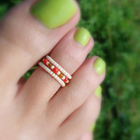 Toe Ring, Cherry Cobbler, Red, Apricot, Topaz Bead Toe Ring