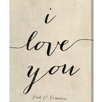 Personalized I Love You Canvas Wall Art With First Names & Wedding Date, Wedding Gift, Anniversary Gift, 4 Sizes 4 Colors
