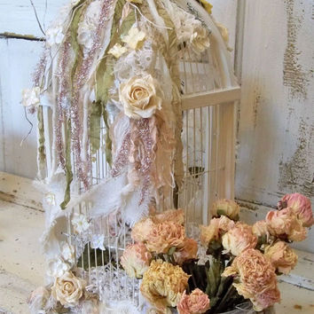 Wedding birdcage card box white wooden embellished wishes table decor hand painted home decor Anita Spero