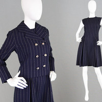 Vintage 60s Mod Suit BILL BLASS Maurice Rentner Wool Wiggle Dress & Jacket Pinstripe Suit Women Two Piece Set Navy Blue Office Wear 1960s