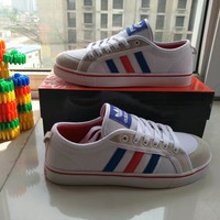 """Adidas"" Fashion Casual Multicolor Stripe Unisex Canvas Shoes Couple Plate Shoes"