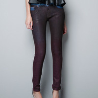 WAX COATED JEANS - Trousers - Woman - ZARA United States