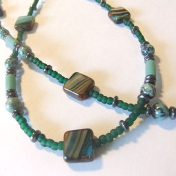 Eyeglass Beaded Chain Sunglasses Reading Glasses African Jasper Stone Green Sea Glass Czech Glass Squares Lanyard Librarian Jewelry