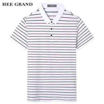HEE GRAND Summer Men's Polo Shirt Typical Striped Design Turn-down Collar 100% Cotton