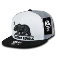 California Republic State Bear Flag Snapback Hat Black & White