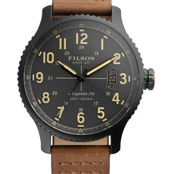 Filson Men's Mackinaw Stainless Steel & Leather Watch, 43mm - Silver