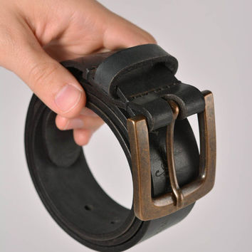 Mens belt handmade accessories designer belts gifts for guys leather goods