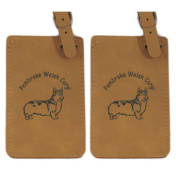 Pembroke Welsh Corgi Standing Luggage Tag 2 Pack L2198