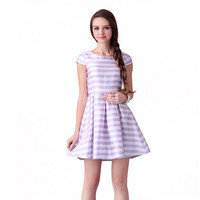 Casual Purple Striped Sleeveless Pleated Mini Skater