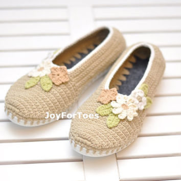 Crochet Slippers, Crocheted shoes, Boho Style, Outdoor shoes, Boots for the Street, Sneakers, Folk, Tribal, Beige, Flowers, Custom Made