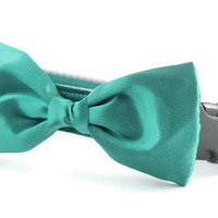 Teal Bow Tie Dog Collar - Dog Bow Tie Collar - Wedding Attire for Dogs - dog wedding - teal satin dog bow tie - green dog bow tie