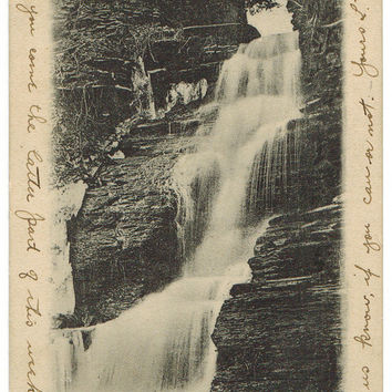 New York postcard | vintage postcard | Amsterdam | Little Chuctanunda Falls | waterfall photograph | mountain wall decor | nature art