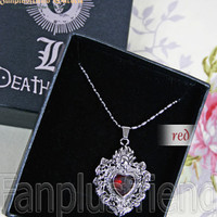 Gothic Skull & Jewel Heart Shape Pendant Necklace (Death Note)*5 Colors - fanplusfriend