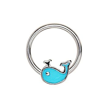 316L Stainless Blue Whale Snap-in WildKlass Captive Bead Ring/Septum Ring