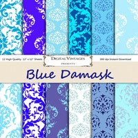 Blue damask digital paper, Damask Digital Paper, digital paper damask, blue digital paper, instant download, blue damask digital, blue paper