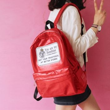 Bright color backpack large capacity of the bag Red