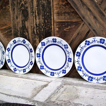 Vintage Plates Country Delft made in England Danish Cobalt Blue Flowers Set of FOUR