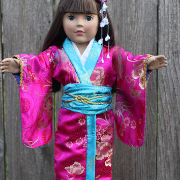"18"" doll Japanese Kimono Outfit fits American Girl and Dolly and Me includes wooden shoes and flower barrette"