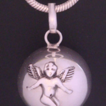 Angel Caller Harmony Ball with a 925 Sterling Silver ANGEL on a Highly Polished 925 Sterling Silver Ball | Pregnancy Gift, Bola Necklace 380