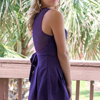 Midnight Purple Romper With Sheer Detail