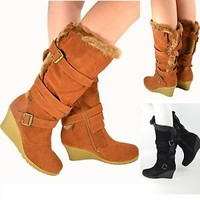 Women's Mid Calf Wedge Boots Faux Suede/Fur Strappy Buckle Boots Tan New Sz 6-10