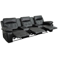 Flash Furniture Real Comfort Series 3-Seat Reclining Black Leather Theater Seating Unit with Straight Cup Holders [BT-70530-3-BK-GG]