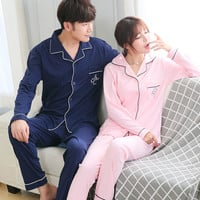Couple pajamas set 100% cotton pajamas plaid pajamas spring and autumn men and women long sleeve sleepwear lover night suits