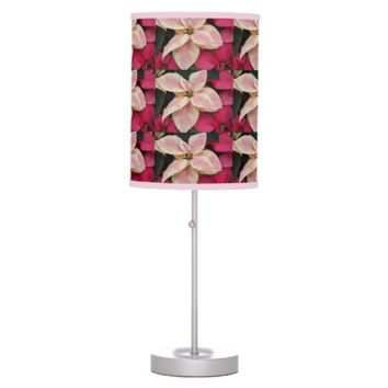 Marbled Poinsettia Holiday Table Lamp