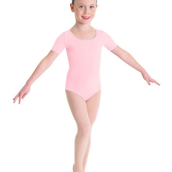 Child Basic Short Sleeve Leotard (Candy Pink) cl5402