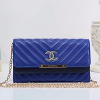 """Chanel"" Fashion Personality V Embossed Double Layer Flip Metal Chain Single Shoulder Messenger Bag Women Clutch"
