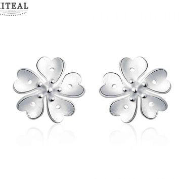Silver Plated Floral Stud Earrings #101