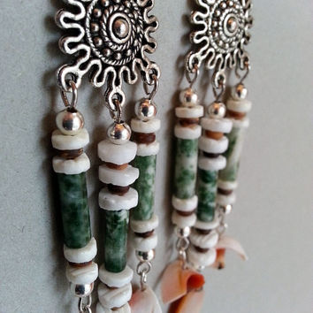 Green Tree Agate and Shell Earrings on Silver Tone Ornate Sun Chandelier Component - Green and Orange Earrings - Beachy Boho Earrings