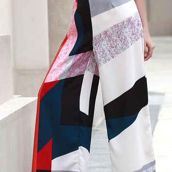 Color Block Geo Pattern Culotte Pants