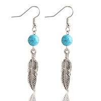 Stylish Vintage Romantic Blue Leaf Earring Accessory Earrings [6058477057]