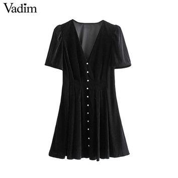 Vadim women elegant velvet mini dress V neck short sleeve slim fit side zipper female casual stylish dresses vestidos QC758