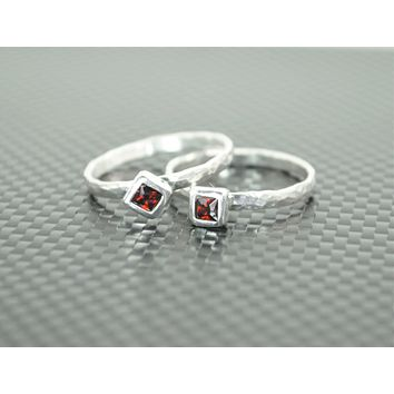 Silver Square Birthstone Ring