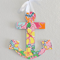 Lilly Pulitzer Inspired Hand-Painted Wooden Anchor in Nosie Posie