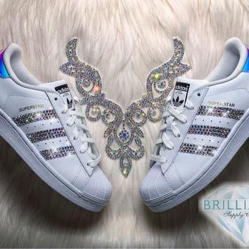 Adidas Superstar Womens/Girls Shoes White Metallic Stripes Customized with AB Swarovsk