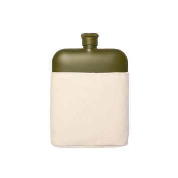 IZOLA ARMY 6 OZ FLASK WITH CANVAS CARRIER