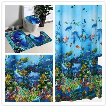 Blue Ocean Style Pedestal Rug + Lid Toilet Cover + Bath Mat  With Hooks Ring