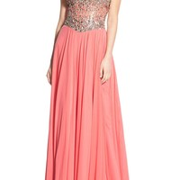 Glamour by Terani Couture Embellished Mesh Fit & Flare Gown | Nordstrom