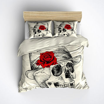 Featherweight Skull Bedding - Skull Fedora Red Rose on Cream Fabric - Comforter Cover - Sugar Skull Duvet Cover, Sugar Skull Bedding Set