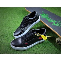 OFF WHITE x Vans Old Skool OW Black White Leather Shoes - Sale