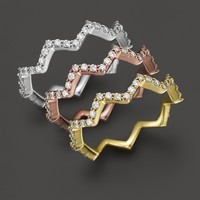 Khai Khai Zig Zag Band with White Diamonds in 18K Gold