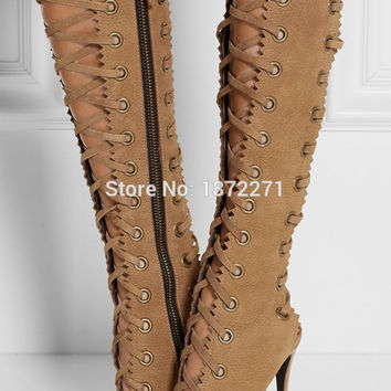 Hot selling lace-up knee-high galdiator boots for women cut -outs high heel long boots party dress summer shoes free shipping