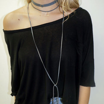 Smokey Grey Choker Layered Necklace With Triangle and Circle