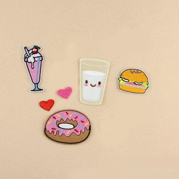 1pcs Fabric Donut Milk ice cream hamburger Heat Transfer Embroidery Clothes Patches Iron On Patch,Appliques For  Backpack
