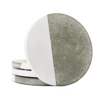 Concrete Coasters, Modern Coasters, Cement Coasters, Drink Coasters, Stone Coasters, Geometric Coasters, Unique Coasters, Silver - Set of 4