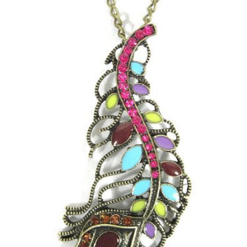 Rainbow Peacock Feather Necklace Pink Crystal NA26 Vintage Dream Catcher Plume Pendant Fashion Jewelry